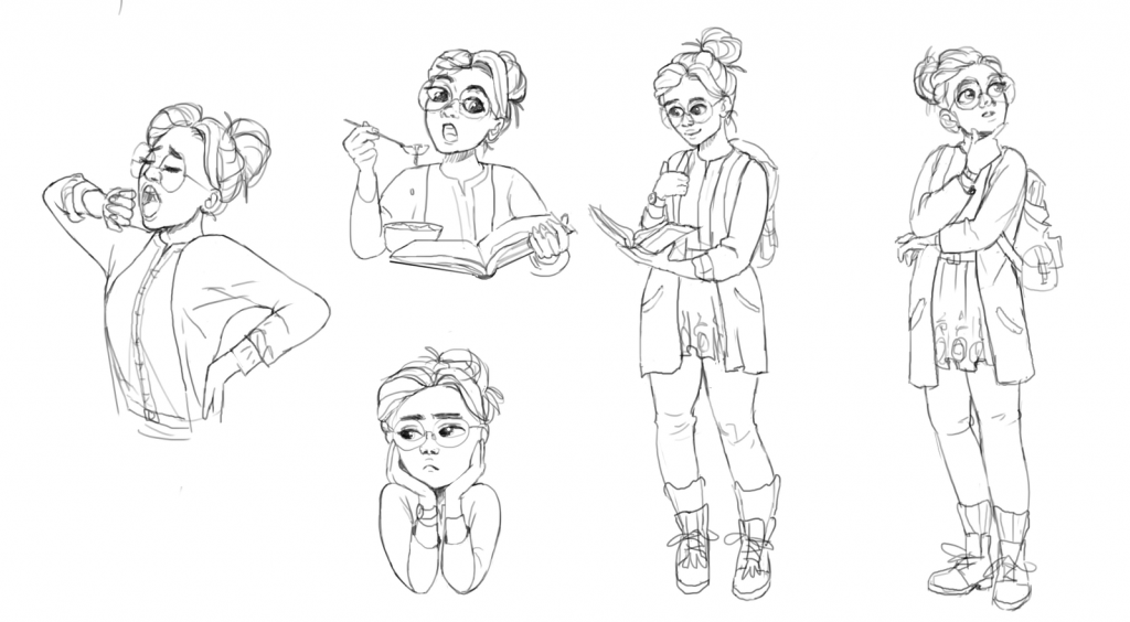 Early Concept sketches of Soul Rider Linda Chanda, by Concept Artist Matilda Geijer at Star Stable.