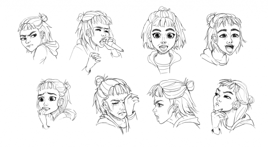Concept Art sketches of Lisa Peterson's facial expressions, by Concept Artist Matilda Geijer.